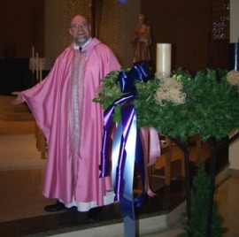 The author in his rose vestment for 3rd Sunday of Advent
